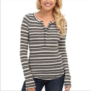 Lucky Brand Chloe Striped Thermal Henley Top Small